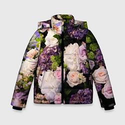 Детская зимняя куртка для мальчика с принтом Весенние цветы, цвет: 3D-черный, артикул: 10067033306063 — фото 1