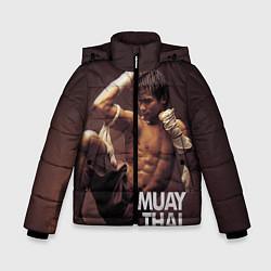 Куртка зимняя для мальчика Муай тай боец цвета 3D-черный — фото 1