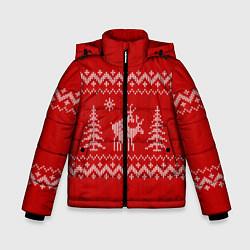 Куртка зимняя для мальчика Олени под елками - фото 1