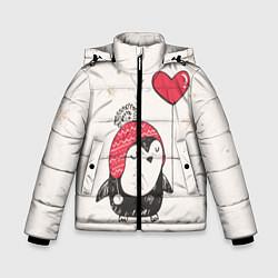 Детская зимняя куртка для мальчика с принтом Влюбленный пингвин, цвет: 3D-черный, артикул: 10076966606063 — фото 1