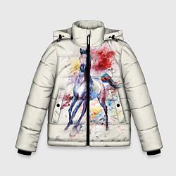 Куртка зимняя для мальчика Лошадь: акварель цвета 3D-черный — фото 1