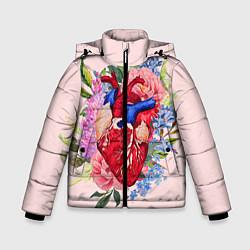 Куртка зимняя для мальчика Цветочное сердце цвета 3D-черный — фото 1