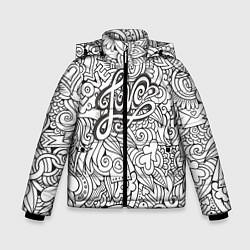 Куртка зимняя для мальчика Love графика цвета 3D-черный — фото 1