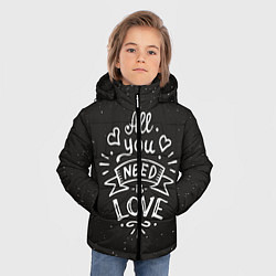 Куртка зимняя для мальчика Любовь надпись цвета 3D-черный — фото 2