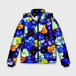 Детская зимняя куртка для мальчика с принтом Синие цветы, цвет: 3D-черный, артикул: 10081584206063 — фото 1