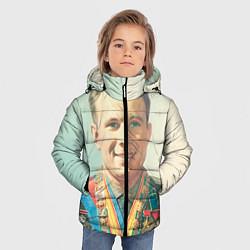 Детская зимняя куртка для мальчика с принтом Гагарин в орденах, цвет: 3D-черный, артикул: 10082403806063 — фото 2