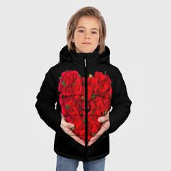 Куртка зимняя для мальчика Сердце роз в руках цвета 3D-черный — фото 2