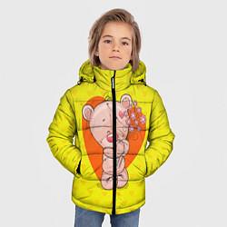Куртка зимняя для мальчика Мишка с цветочками цвета 3D-черный — фото 2