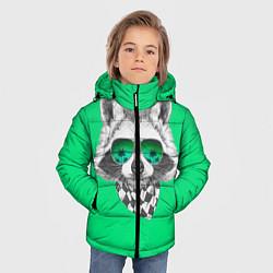 Куртка зимняя для мальчика Енот в очках цвета 3D-черный — фото 2
