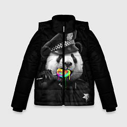 Куртка зимняя для мальчика Панда с карамелью цвета 3D-черный — фото 1