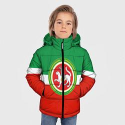 Куртка зимняя для мальчика Татарстан: флаг цвета 3D-черный — фото 2