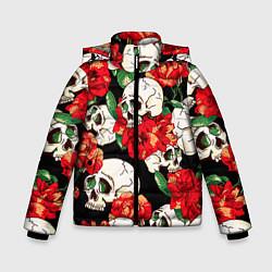 Зимняя куртка для мальчика Черепки и розы