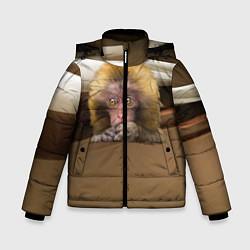 Детская зимняя куртка для мальчика с принтом Мартышка, цвет: 3D-черный, артикул: 10096243406063 — фото 1