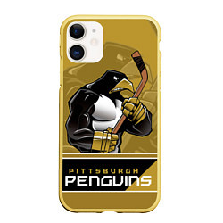 Чехол iPhone 11 матовый Pittsburgh Penguins цвета 3D-желтый — фото 1