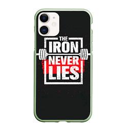 Чехол iPhone 11 матовый The iron never lies цвета 3D-салатовый — фото 1