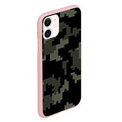 Чехол iPhone 11 матовый Камуфляж пиксельный: черный/серый цвета 3D-баблгам — фото 2