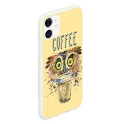 Чехол для iPhone 11 матовый с принтом Owls like coffee, цвет: 3D-белый, артикул: 10161640105889 — фото 2