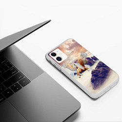 Чехол iPhone 11 матовый Sea Sunset Horse цвета 3D-белый — фото 2