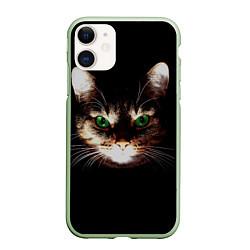 Чехол iPhone 11 матовый Зеленоглазый кот цвета 3D-салатовый — фото 1