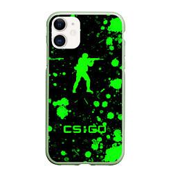 Чехол iPhone 11 матовый CS:GO logo цвета 3D-салатовый — фото 1