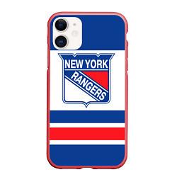 Чехол iPhone 11 матовый New York Rangers цвета 3D-красный — фото 1