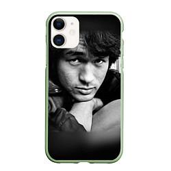Чехол iPhone 11 матовый Виктор Цой цвета 3D-салатовый — фото 1