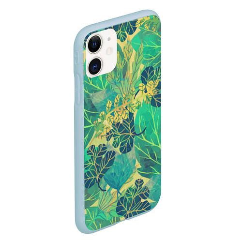 Чехол iPhone 11 матовый Узор из листьев / 3D-Голубой – фото 2