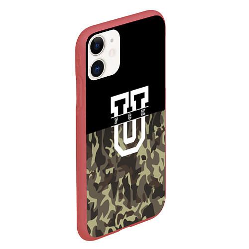 Чехол iPhone 11 матовый FCK U: Camo / 3D-Красный – фото 2