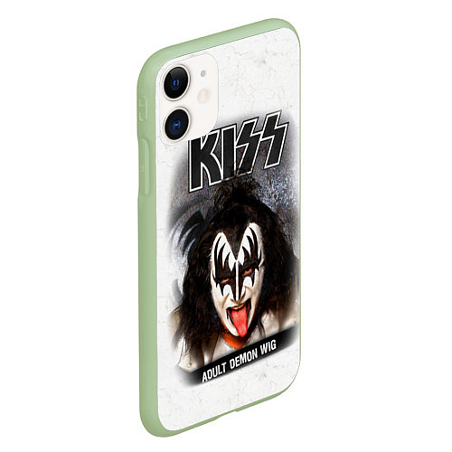 Чехол iPhone 11 матовый KISS: Adult demon wig / 3D-Салатовый – фото 2