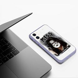 Чехол iPhone 11 матовый KISS: Adult spaceman wig цвета 3D-светло-сиреневый — фото 2