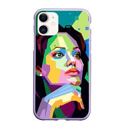 Чехол iPhone 11 матовый Angelina Jolie: Art цвета 3D-светло-сиреневый — фото 1