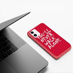Чехол iPhone 11 матовый You'll never walk alone цвета 3D-красный — фото 2