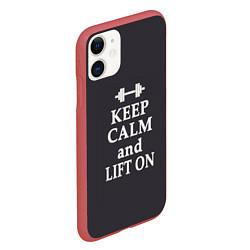 Чехол iPhone 11 матовый Keep Calm & Lift On цвета 3D-красный — фото 2