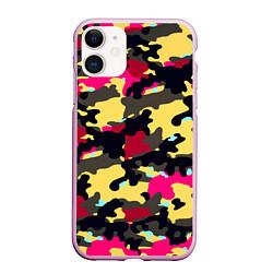 Чехол iPhone 11 матовый Камуфляж: желтый/черный/розовый цвета 3D-розовый — фото 1