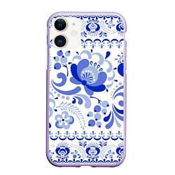 Чехол iPhone 11 матовый Гжель 2 цвета 3D-светло-сиреневый — фото 1