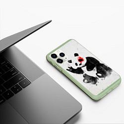 Чехол iPhone 11 Pro матовый Рок-панда цвета 3D-салатовый — фото 2