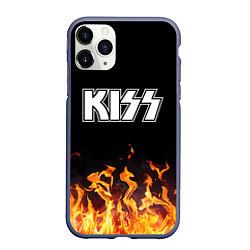 Чехол iPhone 11 Pro матовый Kiss: Hell Flame цвета 3D-серый — фото 1