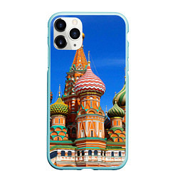 Чехол iPhone 11 Pro матовый Храм Василия Блаженного цвета 3D-мятный — фото 1