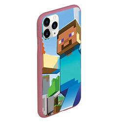Чехол iPhone 11 Pro матовый Minecraft World цвета 3D-малиновый — фото 2