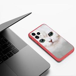 Чехол iPhone 11 Pro матовый Белый котик цвета 3D-красный — фото 2