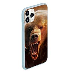 Чехол iPhone 11 Pro матовый Рык медведя цвета 3D-голубой — фото 2