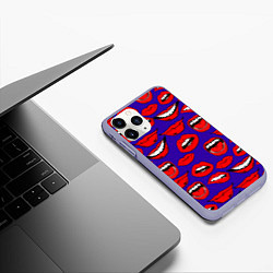 Чехол iPhone 11 Pro матовый Губы цвета 3D-светло-сиреневый — фото 2