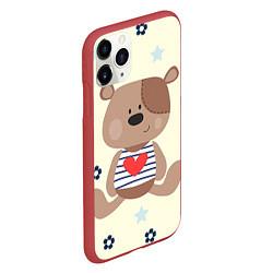 Чехол iPhone 11 Pro матовый Любовь мишки цвета 3D-красный — фото 2