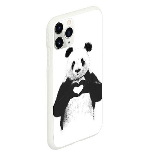 Чехол iPhone 11 Pro матовый Panda Love / 3D-Белый – фото 2
