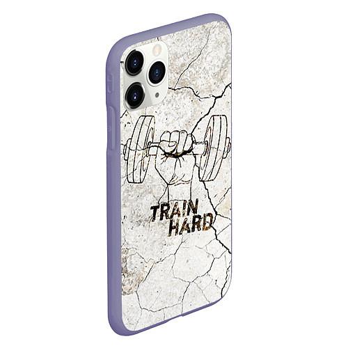 Чехол iPhone 11 Pro матовый Train hard / 3D-Серый – фото 2