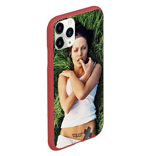 Чехол iPhone 11 Pro матовый Анджелина Джоли / 3D-Красный – фото 2
