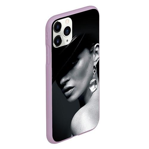 Чехол iPhone 11 Pro матовый Девушка в шляпе / 3D-Сиреневый – фото 2