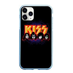 Чехол iPhone 11 Pro матовый KISS: Death Faces цвета 3D-голубой — фото 1