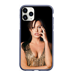 Чехол iPhone 11 Pro матовый Angelina Jolie цвета 3D-серый — фото 1