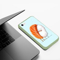 Чехол iPhone 6/6S Plus матовый Суши друзья цвета 3D-салатовый — фото 2